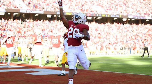 Stanford running back Bryce Love ran for 136 yards against USC. (AP)