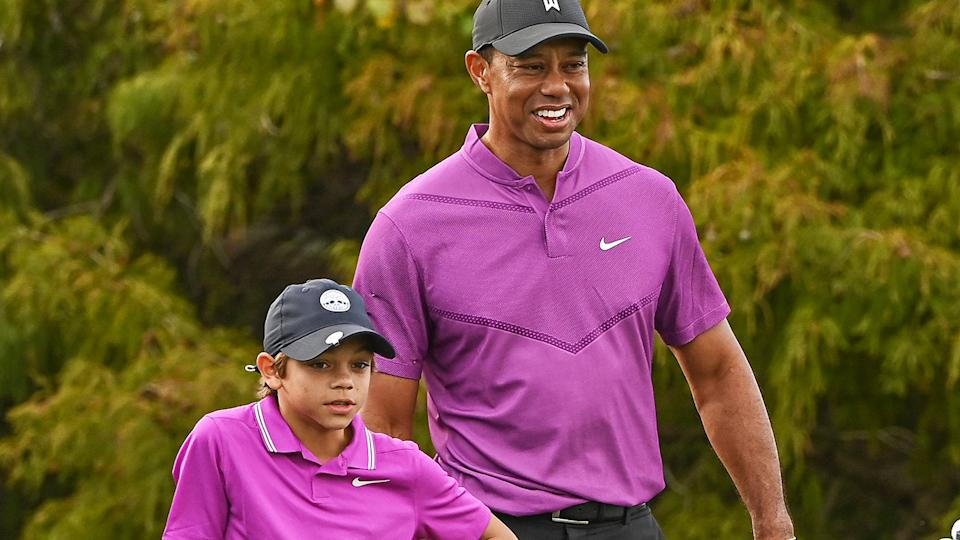 Tiger Woods teamed up with his son Charlie for the PNC Championships in Orlando, Florida over the weekend. (Photo by Ben Jared/PGA TOUR via Getty Images)