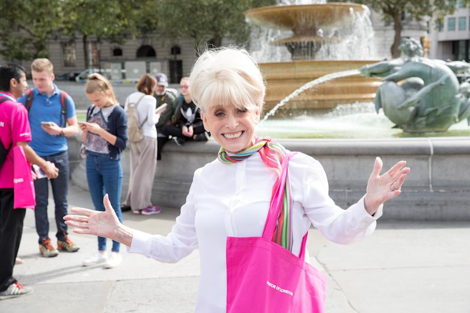 LONDON, ENGLAND - AUGUST 08: Dame Barbara Windsor DBE joins team London Ambassadors to show London is open to visitors from around the world at Trafalgar Square on August 8, 2016 in London, England. (Photo by Luca Teuchmann/WireImage)