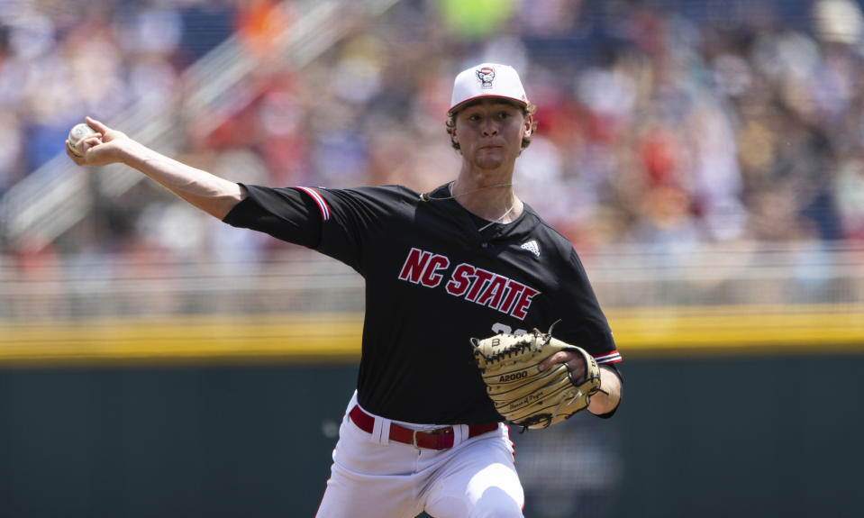 North Carolina State starting pitcher Garrett Payne throws against Vanderbilt in the first inning during a baseball game in the College World Series, Friday, June 25, 2021, at TD Ameritrade Park in Omaha, Neb. (AP Photo/Rebecca S. Gratz)