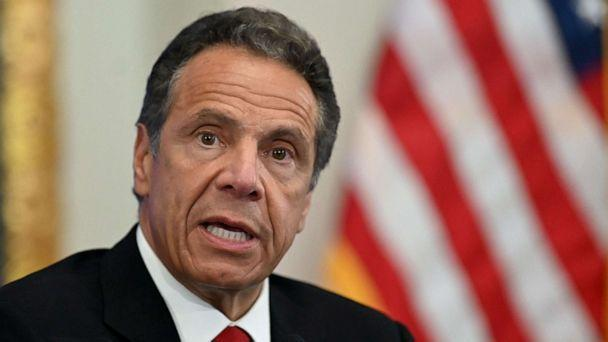 PHOTO: Governor of New York Andrew Cuomo speaks during a press conference at the New York Stock Exchange (NYSE) at Wall Street in New York City. (Johannes Eisele/AFP via Getty Images, FILE)