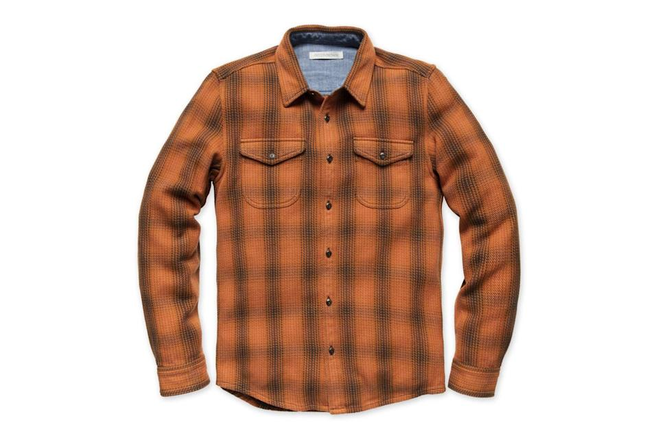 """<p>Some days, you just need to pull on a rugged, lumberjack-level flannel shirt that'll keep the chill out and you looking handsome. This is that shirt.</p> <p><em>Outerknown blanket shirt</em></p> $148, Outerknown. <a href=""""https://www.outerknown.com/products/blanket-shirt-cedar-lobos-plaid"""" rel=""""nofollow noopener"""" target=""""_blank"""" data-ylk=""""slk:Get it now!"""" class=""""link rapid-noclick-resp"""">Get it now!</a>"""