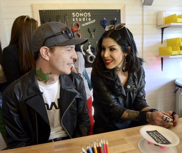 deadmau5 (L) and Kat Von D build a speaker in the Speaker Lab at the Sonos Studio @ SXSW on March 11, 2013 in Austin, Texas.