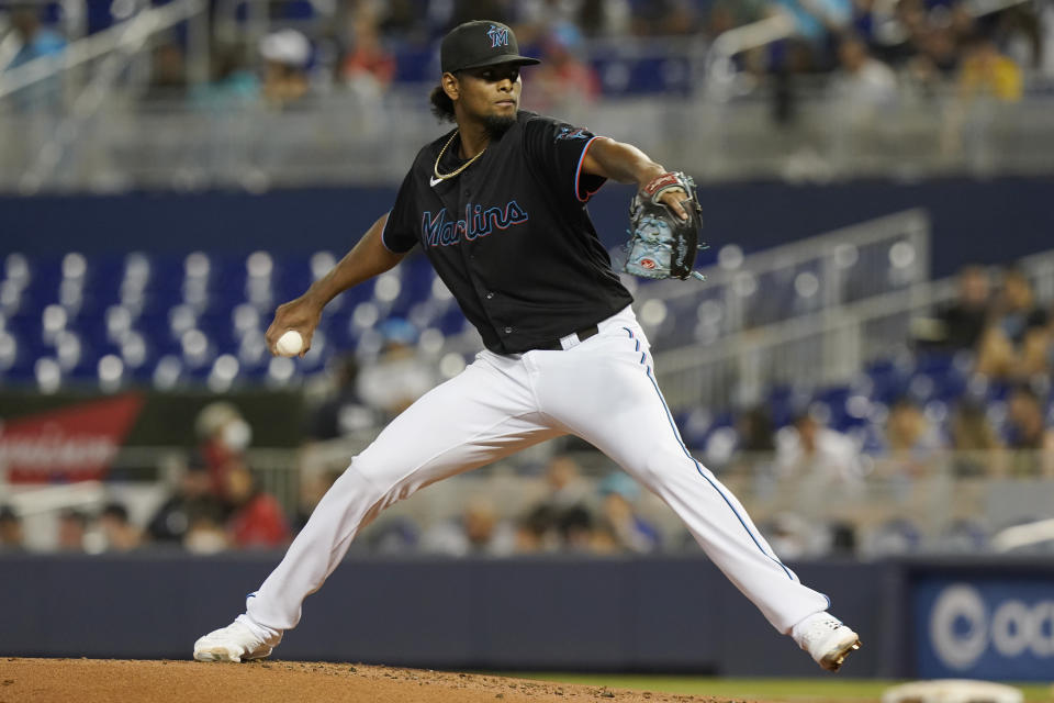Miami Marlins starting pitcher Edward Cabrera throws during the second inning of the team's baseball game against the Pittsburgh Pirates, Saturday, Sept. 18, 2021, in Miami. (AP Photo/Marta Lavandier)