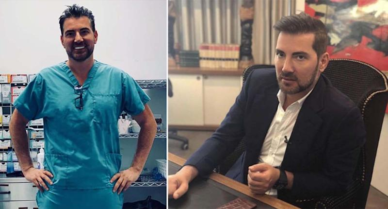 Sydney plastic surgeon Dr Kourosh Tavakoli in scrubs (left) and at his desk.