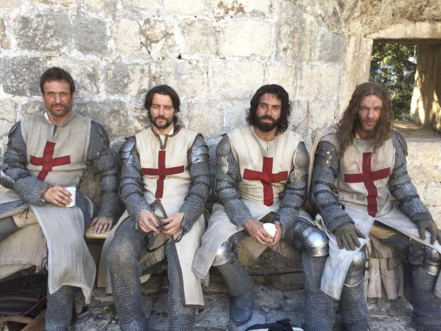 <p>The Knights. From left: Simon Merrells (Tancrede), Padraic Delaney (Gawain), some hairy bloke and Sam Hazeldine (Godfrey). One of the greatest parts of this job was getting to work with these amazing guys. We bonded like brothers. Their performances in @knightfallshow are astounding. I can't wait for you to see them. I bloody love them. — @tom_cullen #Knightfall #HISTORY<br><br>(Photo: Instagram) </p>