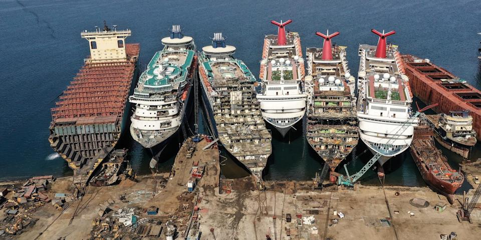 "A drone image shows decommissioned cruise ships being dismantled at Aliaga ship-breaking yard in the Aegean port city of Izmir, western Turkey, October 2, 2020. <p class=""copyright"">REUTERS/Umit Bektas</p>"