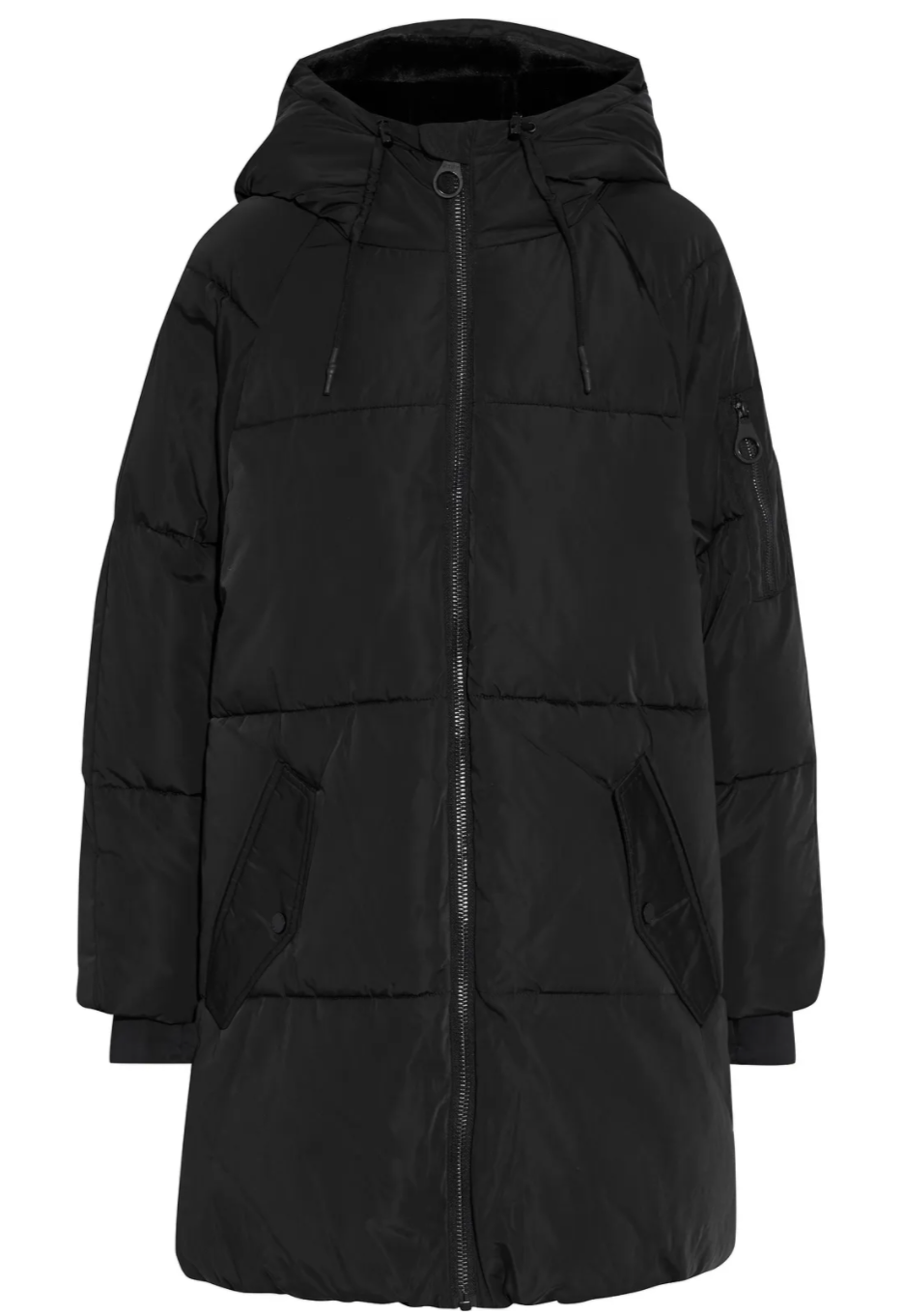 DKNY Quilted Shell Hooded Coat in Black (Photo via The Outnet)
