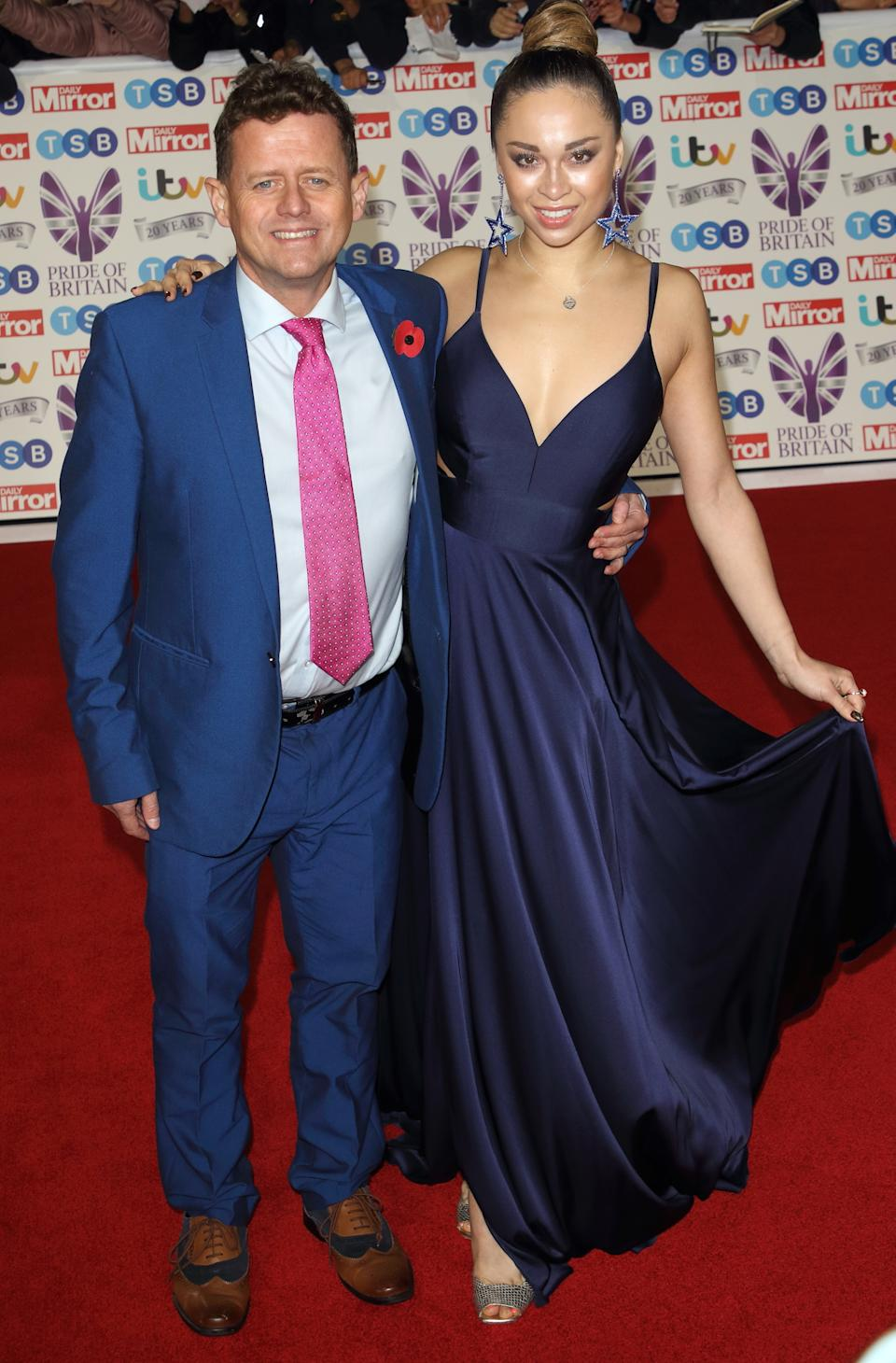 Mike Bushell and Katya Jones on the red carpet at The Daily Mirror Pride of Britain Awards, in partnership with TSB, at the Grosvenor House Hotel, Park Lane. (Photo by Keith Mayhew / SOPA Images/Sipa USA)