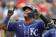 Kansas City Royals' Salvador Perez looks up after hitting a two-run home run in the fifth inning in the first baseball game of a doubleheader against the Cleveland Indians, Monday, Sept. 20, 2021, in Cleveland. The home run broke Johnny Bench's record for the most home runs in a season by a primary catcher. (AP Photo/Tony Dejak)