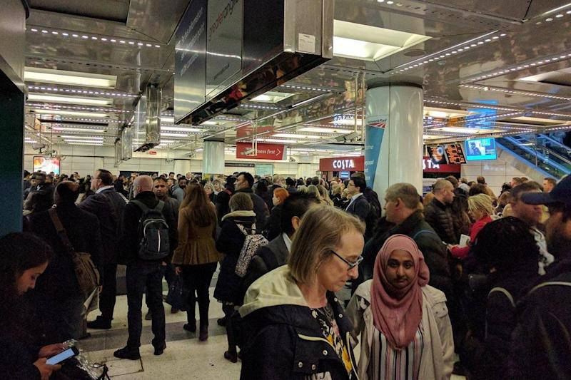 Travel chaos: Trains running from Liverpool Street station face severe disruption: Twitter/@RozJC