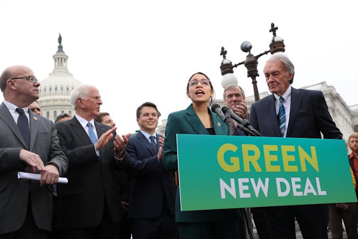 U.S. Rep. Alexandria Ocasio-Cortez, D-N.Y., and Sen. Ed Markey, D-Mass., hold a news conference for their proposed Green New Deal to achieve net-zero greenhouse gas emissions in 10 years, at the U.S. Capitol in Washington on Feb. 7, 2019. (Photo: Jonathan Ernst/Reuters)