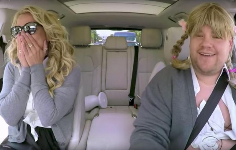 Brit seemed to mime a lot of her songs on Carpool Karaoke. Source: The Late Late Show