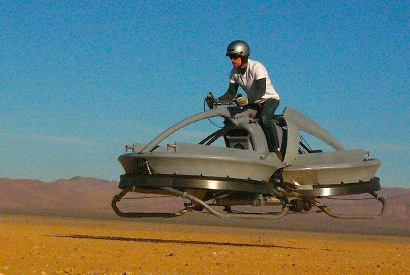 The Aerofex hover vehicle recalls the futuristic look of Star Wars speeder bikes.