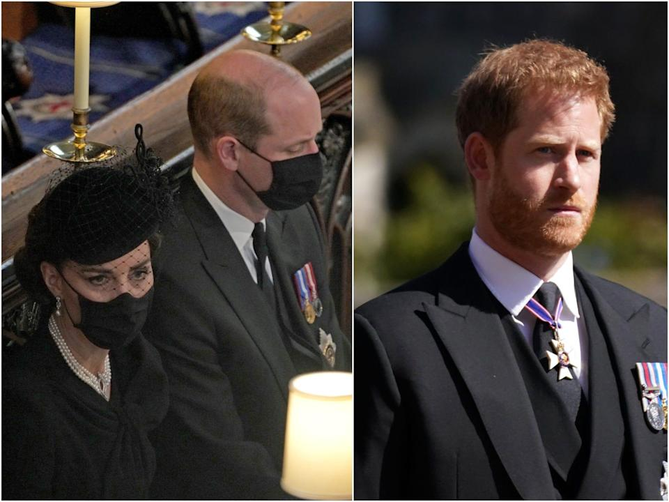 At left, Prince William and Kate Middleton at Prince Philip's funeral. At right, Harry at Philip's funeral.