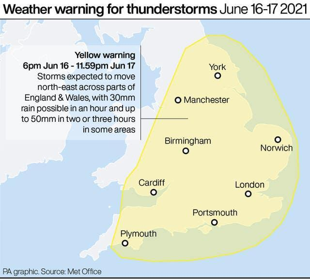 Weather warning for thunderstorms June 16-17 2021