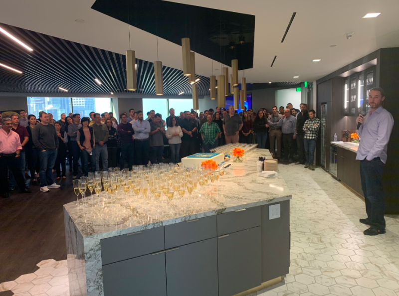 DoubleLine's deputy CIO Jeff Sherman gives remarks at the firm's 10th anniversary celebration at its Los Angeles headquarters. (Credit: Twitter/@DLineCap