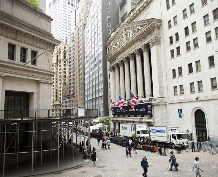 NEW YORK , NY - JUNE 02: Exterior view of the New York Stock Exchange and Wall St. as new company Organon start trading next thursday in New York on June 02 2021. Organon look to expand to provide treatments for other conditions unique to women, about 80% of the new company's revenues will come from outside the U.S (Photo by Kena Betancur/VIEWpress)