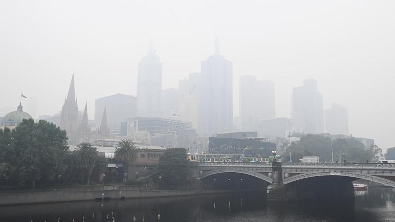 Haze from bushfire smoke shrouded Melbourne and most of Victoria
