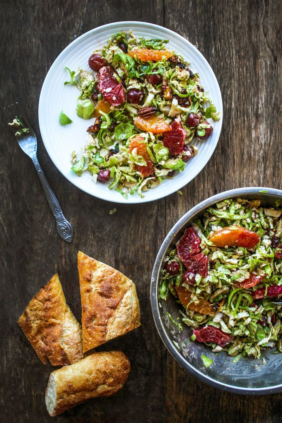 "<p>Blood oranges, pecans, and a flavorful balsamic vinaigrette make this salad pop—both flavor-wise and color-wise.</p><p><strong>Get the recipe at <a href=""https://www.chocolateforbasil.com/blog/massaged-winter-brussels-sprout-salad"" rel=""nofollow noopener"" target=""_blank"" data-ylk=""slk:Chocolate for Basil"" class=""link rapid-noclick-resp"">Chocolate for Basil</a>.</strong></p><p><strong><a class=""link rapid-noclick-resp"" href=""https://go.redirectingat.com?id=74968X1596630&url=https%3A%2F%2Fwww.walmart.com%2Fbrowse%2Fhome%2Fserveware%2Fthe-pioneer-woman%2F4044_623679_639999_2347672%3Ffacet%3Dbrand%253AThe%2BPioneer%2BWoman&sref=https%3A%2F%2Fwww.thepioneerwoman.com%2Ffood-cooking%2Fmeals-menus%2Fg33251890%2Fbest-thanksgiving-sides%2F"" rel=""nofollow noopener"" target=""_blank"" data-ylk=""slk:SHOP SERVING BOWLS"">SHOP SERVING BOWLS</a><br></strong></p>"
