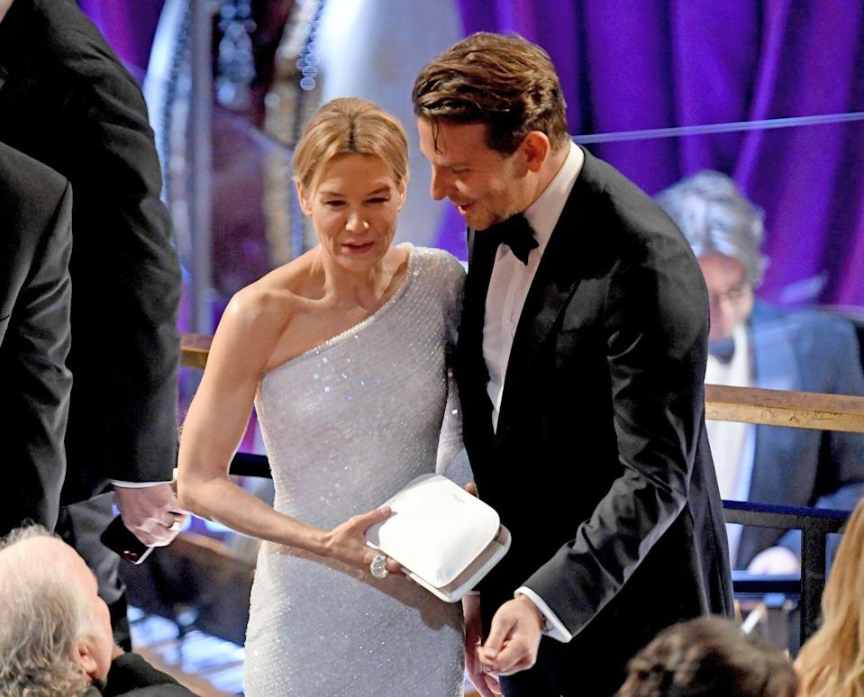 """<p>Let's take a trip down memory lane. Before the whole world wanted Bradley Cooper and Lady Gaga to date, he actually did date one of his costars: Renée Zellweger. </p><p>They <a href=""""https://www.marieclaire.com.au/bradley-cooper-relationship-timeline"""" rel=""""nofollow noopener"""" target=""""_blank"""" data-ylk=""""slk:sparked an off-screen romance"""" class=""""link rapid-noclick-resp"""">sparked an off-screen romance</a> in 2009 while filming Case39. Though neither of them have spoken about the breakup, a <a href=""""https://www.usmagazine.com/celebrity-body/news/why-bradley-cooper-and-renee-zellweger-called-it-quits-2011233/"""" rel=""""nofollow noopener"""" target=""""_blank"""" data-ylk=""""slk:source told UsWeekly"""" class=""""link rapid-noclick-resp"""">source told UsWeekly</a> that it was because of Bradley's rise to stardom. 'If I had to pick any possible mistress it would be Brad's career,' the source said. 'He worked really hard to get into leading man status.'</p>"""