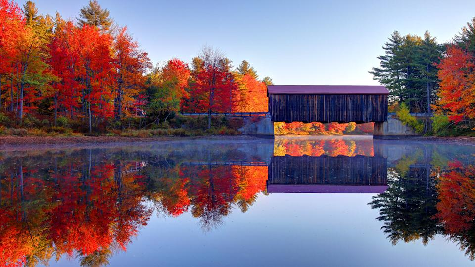 County Covered bridge in New Hamsphire during autumn