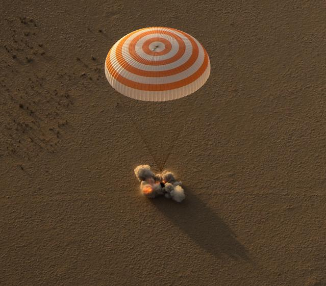 <p>The Soyuz MS-04 spacecraft is seen as it lands with Expedition 52 Commander Fyodor Yurchikhin of Roscosmos and Flight Engineers Peggy Whitson and Jack Fischer of NASA near the town of Zhezkazgan, Kazakhstan on Sunday, Sept. 3, 2017 (Kazakh time). Whitson is returning after 288 days in space where she served as a member of the Expedition 50, 51 and 52 crews. Yurchikhin and Fischer are returning after 136 days in space where they served as members of the Expedition 51 and 52 crews onboard the International Space Station. (Photo: NASA/Bill Ingalls) </p>