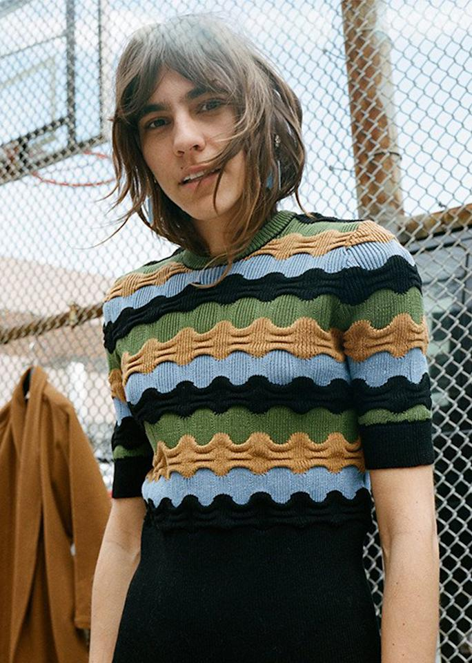 """Marni Crew Neck Sweater, $735; at <a rel=""""nofollow"""" href=""""https://mnzstore.com/collections/clothing/products/shortsleeved-crew-neck-sweater-multi"""" rel="""""""">Maryam Nassir Zadeh</a>"""