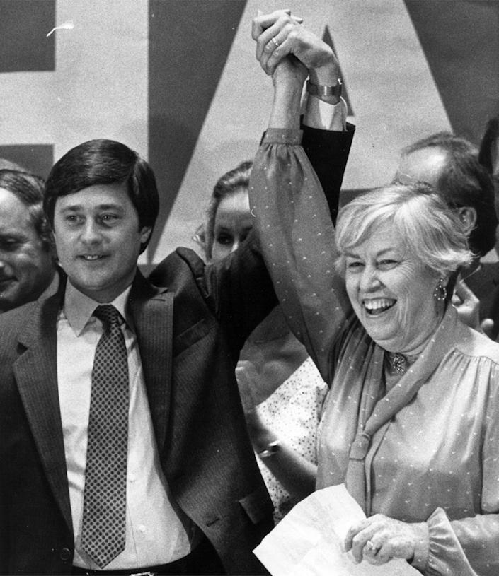 Martha Griffiths is pictured in August 1982 with Michigan Gov.-elect James Blanchard.