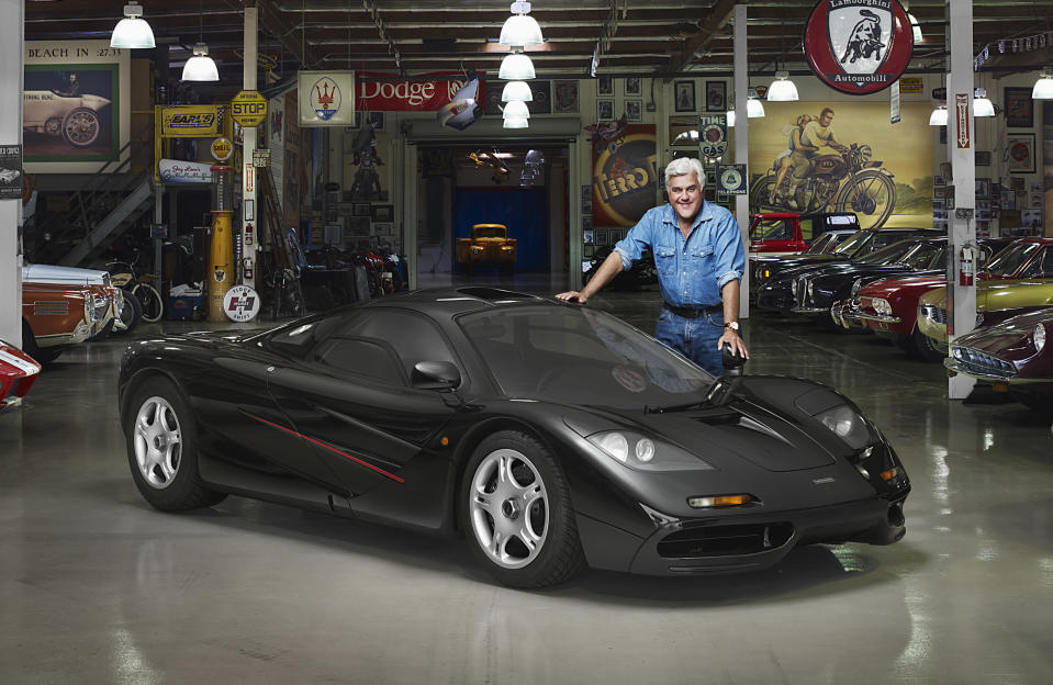 Jay Leno in his garage with his McLaren F1