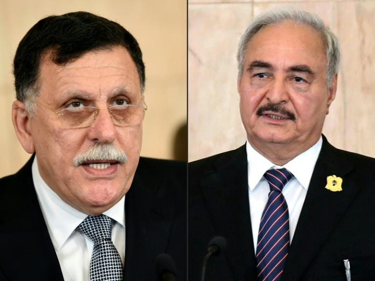 Fayez al-Sarraj (L) heads Libya's UN-backed Government of National Accord, which eastern-based strongman Khalifa Haftar is battling for control of the capital Tripoli (AFP Photo/FETHI BELAID, HO)