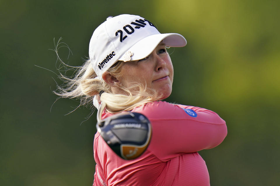 Stephanie Meadow, of Northern Ireland, tees off on the 16th hole during the final round of the LPGA Pelican Women's Championship golf tournament Sunday, Nov. 22, 2020, in Belleair, Fla. (AP Photo/Chris O'Meara)