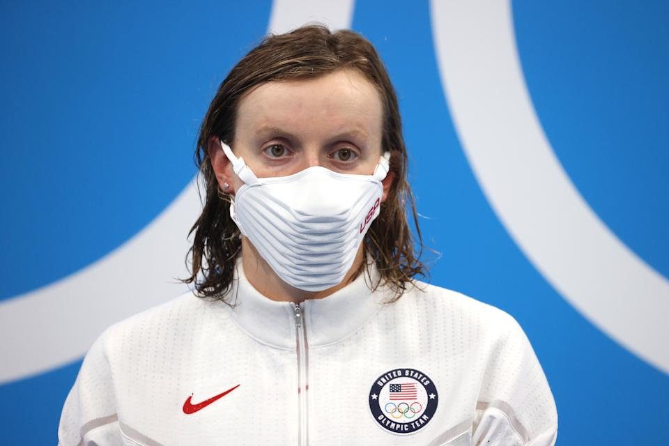 TOKYO, JAPAN - JULY 28: Katie Ledecky of Team United States reacts during the medal ceremony after winning the gold medal in the Women's 1500m Freestyle Final on day five of the Tokyo 2020 Olympic Games at Tokyo Aquatics Centre on July 28, 2021 in Tokyo, Japan. (Photo by Al Bello/Getty Images)