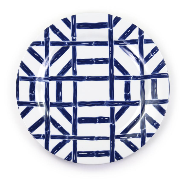 """<p><strong>$64.00</strong></p><p><a href=""""https://pomegranateinc.com/collections/melamine/products/navy-bamboo-melamine-luncheon-plate-set-of-6"""" rel=""""nofollow noopener"""" target=""""_blank"""" data-ylk=""""slk:Shop Now"""" class=""""link rapid-noclick-resp"""">Shop Now</a></p><p>A bold geometric bamboo pattern is perfect for the outdoor table. Plus, who doesn't love a blue-and-white color combination?</p>"""