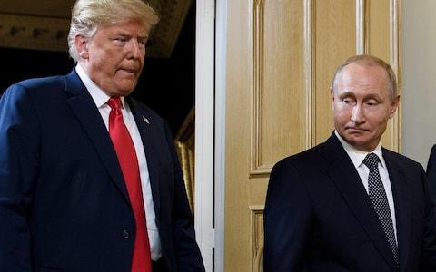 <span>Mr Trump and Mr Putin in Helsinki</span> <span>Credit: AFP </span>