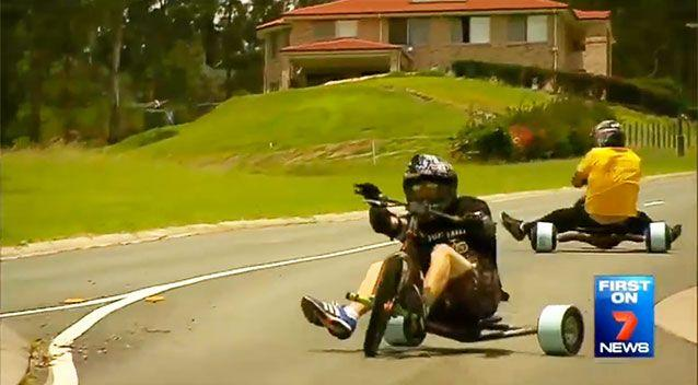 The trikes are modified to reduce traction in the year wheels. Photo: 7 News