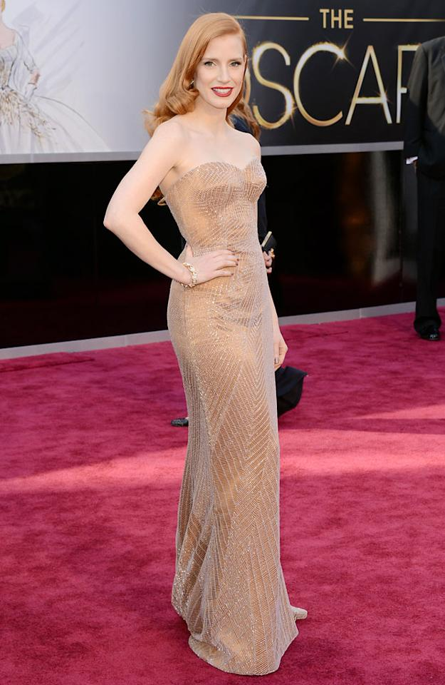 Jessica Chastain arrives at the Oscars at Hollywood & Highland Center on February 24, 2013 in Hollywood, California.