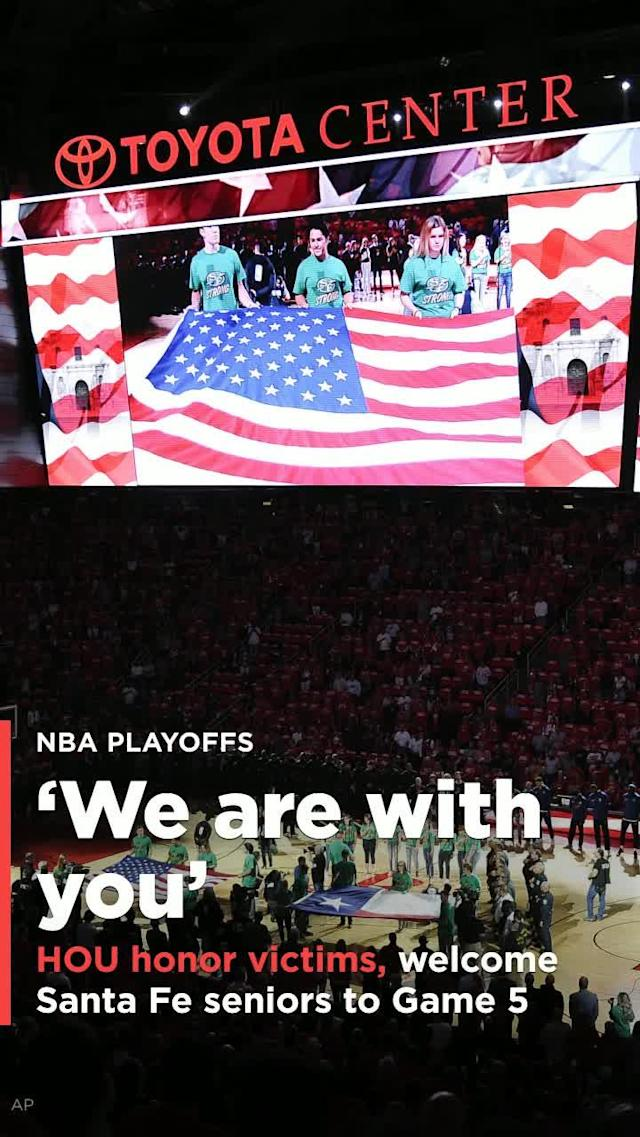 The Houston Rockets honored the victims and survivors of the deadly Santa Fe High School shooting during Thursday's Game 5 of the Western Conference finals.