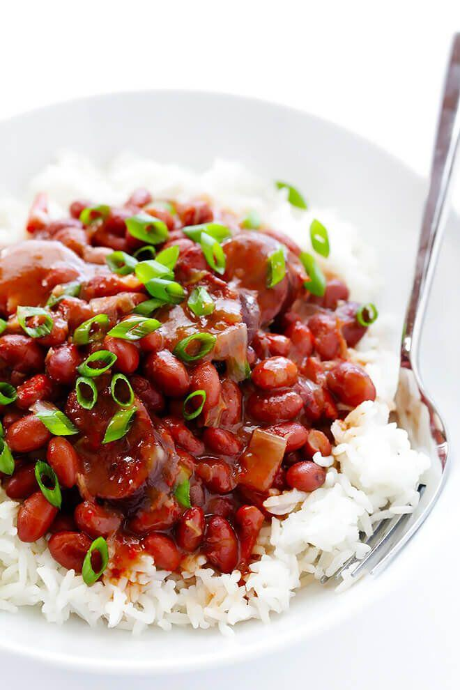 """<strong><a href=""""https://www.gimmesomeoven.com/crock-pot-red-beans-and-rice/"""" target=""""_blank"""" rel=""""noopener noreferrer"""">Get the Crock Pot Red Beans and Rice recipe from Gimme Some Oven</a></strong>"""
