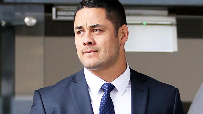 Jarryd Hayne, pictured here leaving Newcastle Local Court ahead of his sexual assault trial.