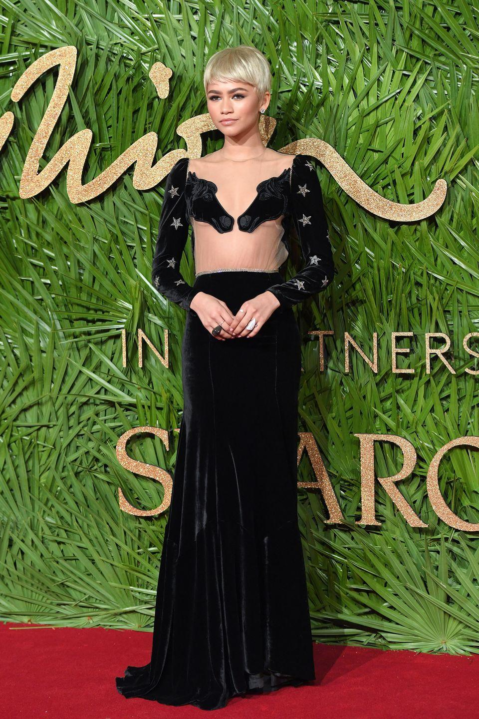 <p>It seems Zendaya had a thing for animal-inspired looks in December 2017. At that year's Fashion Awards, She sported a Vivetta gown that featured sheer paneling and a couple of horses. </p>