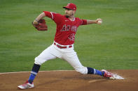 Los Angeles Angels starting pitcher Andrew Heaney throws to the Minnesota Twins during the first inning of a baseball game Friday, April 16, 2021, in Anaheim, Calif. (AP Photo/Marcio Jose Sanchez)