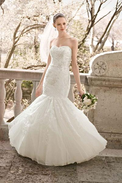 """<div class=""""caption-credit""""> Photo by: Oleg Cassini at David's Bridal</div><div class=""""caption-title"""">18. Oleg Cassini at David's Bridal</div>We love the delicate flowers on this romantic mermaid by Oleg Cassini for David's Bridal. <br> <br> Check out more gorgeous styles in our <a rel=""""nofollow noopener"""" href=""""http://www.bridalguide.com/photo-galleries/bridal-gowns/oleg-cassini-at-davids-bridal/oleg-cassini-style-cpk469"""" target=""""_blank"""" data-ylk=""""slk:Oleg Cassini at David's Bridal gown gallery"""" class=""""link rapid-noclick-resp"""">Oleg Cassini at David's Bridal gown gallery</a>!"""