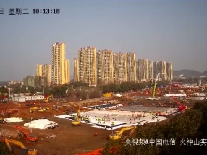 Still from a video showing the rapid building of two hospitals in Wuhan.