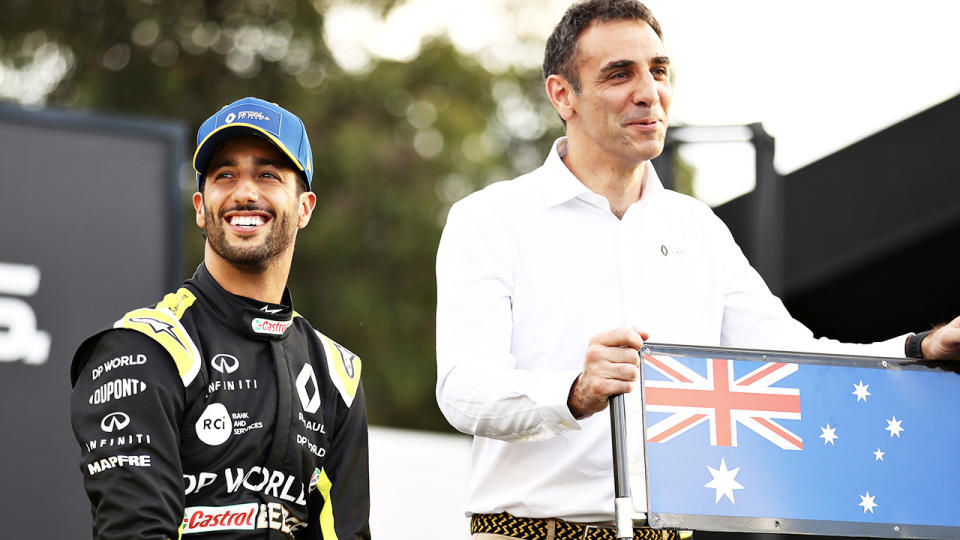 Daniel Ricciardo (pictured left) and Renault Sport F1 and Renault Sport F1 Managing Director Cyril Abiteboul (pictured right) share a joke.