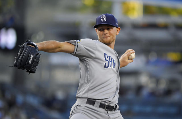 San Diego Padres starting pitcher Eric Lauer throws during the first inning of the team's baseball game against the Los Angeles Dodgers on Friday, Aug. 2, 2019, in Los Angeles. (AP Photo/Mark J. Terrill)