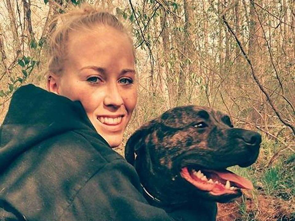 Bethany Lynn Stephens was found being 'guarded' by her pitbulls
