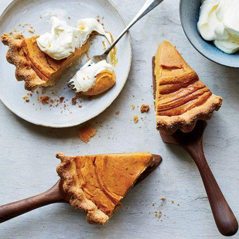 """<p>Liven up your basic sweet potato pie with a cornmeal crust. It's easier to make than you think.</p><p><strong><a href=""""https://www.countryliving.com/food-drinks/recipes/a34722/sweet-potato-pie-cornmeal-crust-recipe-fw1114/"""" rel=""""nofollow noopener"""" target=""""_blank"""" data-ylk=""""slk:Get the recipe"""" class=""""link rapid-noclick-resp"""">Get the recipe</a>.</strong> </p>"""
