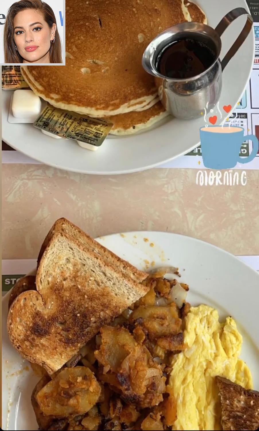 """<p>The model had a true <a href=""""https://www.instagram.com/ashleygraham/"""" rel=""""nofollow noopener"""" target=""""_blank"""" data-ylk=""""slk:diner-style breakfast"""" class=""""link rapid-noclick-resp"""">diner-style breakfast</a> of pancakes and syrup, eggs, toast, and home fries. </p>"""
