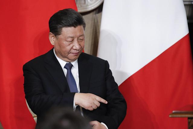 Rome (Italy), 23/03/2019.- Chinese President Xi Jinping prior the press conference the Villa Madama in Rome, Italy, 23 March 2019. President Xi Jinping is in Italy to sign a memorandum of understanding to make Italy the first Group of Seven leading democracies to join China's ambitious Belt and Road infrastructure project. (Italia, Roma) EFE/EPA/GIUSEPPE LAMI